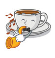 with trumpet coffee character cartoon style vector image vector image