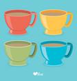 color tea cup set flat vector image