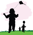 children in nature with dragon and balloon vector image