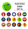 office furniture and interior set icons in flat vector image