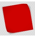 Red paper sticker over transparent background vector image