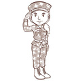 A plain sketch of a female soldier vector image vector image
