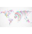 abstract world map of colorful radial lines vector image vector image