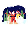 adorable christmas characters santa claus hugging vector image vector image