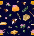 Apiculture or beekeeping seamless pattern with