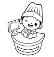 black and white chef mascot information desk in vector image