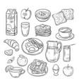 breakfast doodle sandwich bread toast egg butter vector image