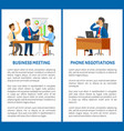 business meeting and phone negotiation office work vector image vector image