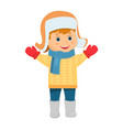 cartoon boy in fur hat vector image vector image
