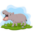 cartoon hippo with open mouth in grass vector image vector image