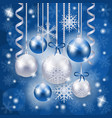 christmas background in blue and silver on vector image