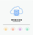 cloud storage computing data flow 5 color line vector image
