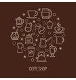 Coffee outline icons in circle design vector image vector image