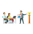 conference workers laptops and male boss target vector image vector image