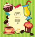 cupcake and sweets frame vector image