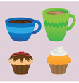 Cups and Cupcakes vector image vector image