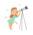 curious girl looking in telescope studying stars