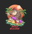 cute gorilla happy summertime vector image vector image