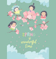 cute little girls with cherry blossom vector image vector image