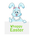 cute rabbit with sheet of paper for happy easter vector image vector image