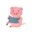 cute smart pig character reading a book funny vector image vector image