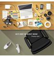 Designer desk photographer Top view of desk vector image