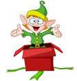 elf jumps from gift box vector image vector image
