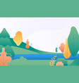 flat minimal landscape autumn nature scene with vector image