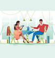 flat young romantic couple in cafe on date vector image