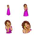 girl in purple dress headphones avatar vector image vector image