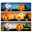 happy halloween banner set with scary pumpkins vector image vector image