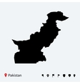 High detailed map of Pakistan with navigation pins vector image vector image