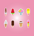 icons set with ice cream vector image vector image