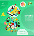 isometric internet banking template vector image