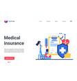 medical insurance landing page insurer or doctor vector image