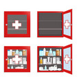 medical wall box set flat isolated vector image vector image
