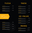 menu design on black background vector image