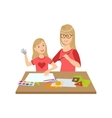 Mother And Child Doing Craft Together vector image vector image