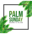 palm sunday holiday card poster with leaves vector image