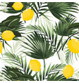 palm tropic leaves and yellow lemons vector image vector image