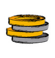 pile gold coins vector image