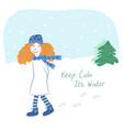 redgirl-winter vector image