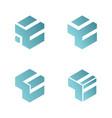 set abstract letter e 3d box logo vector image vector image
