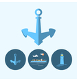 Set icon with anchor lighthouse container ship vector image vector image