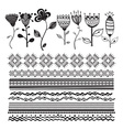 Set of floral elements for design hand-drawn line