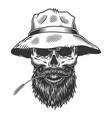 skull in panama hat vector image vector image