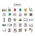 stylized graphical colorful science icon set vector image
