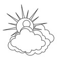 sun and cloud icon outline style vector image