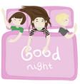 the kids sleep in the bedroom pink vector image