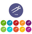 tongs icons set color vector image vector image